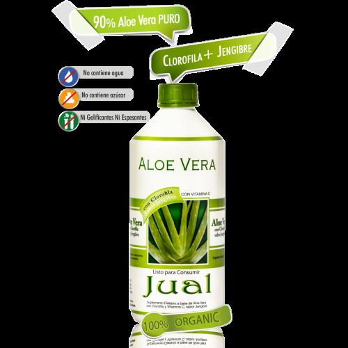 500 cc - Jugo de Aloe Vera Orgánico Bebible, Sabor Jengibre