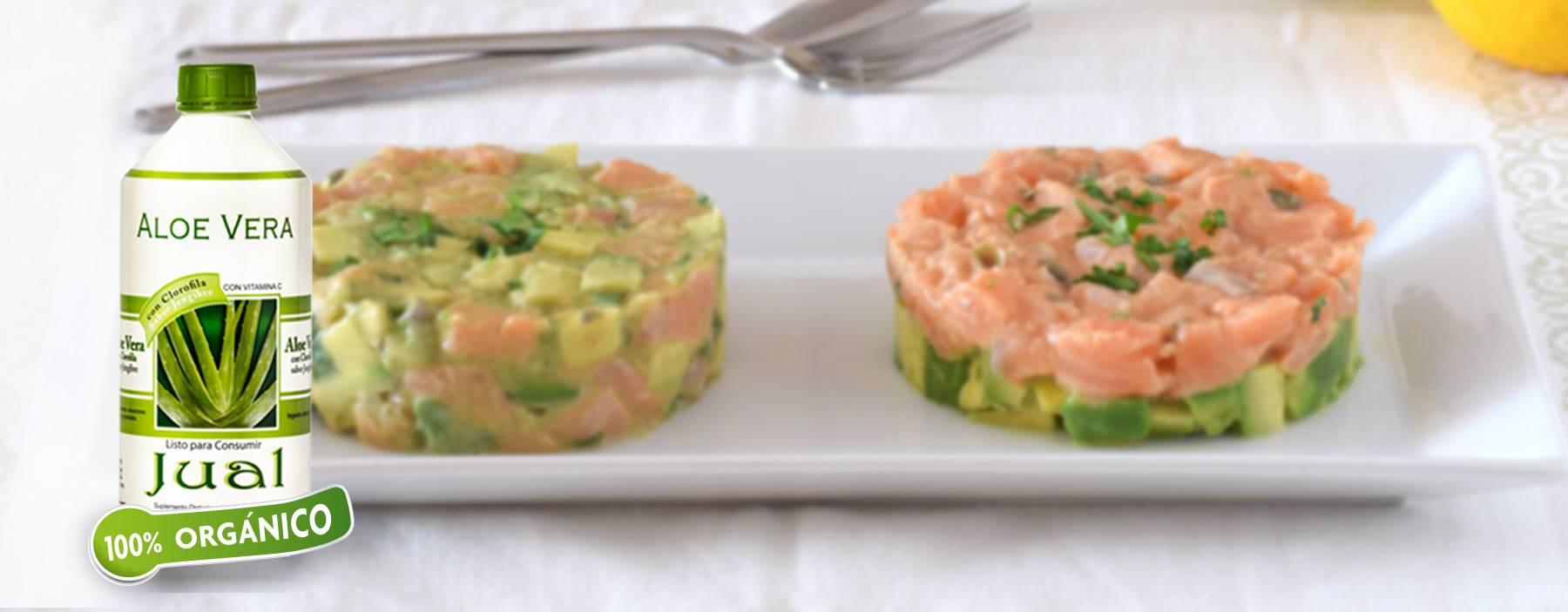 Salmon, avocado and aloe vera tarts